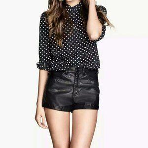 H&M Divided Black Vegan Faux Leather Shorts